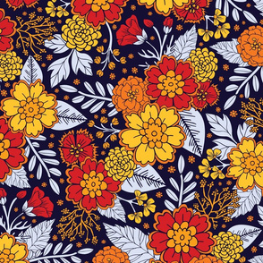 Red, Yellow, Orange & Navy Blue Flowers/Floral Pattern