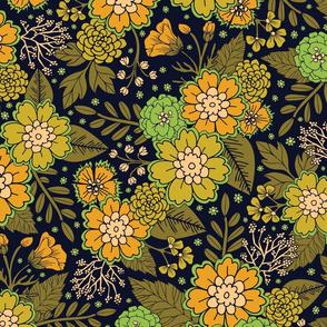 Retro 1970s Floral Pattern/Olive Green & Harvest Gold