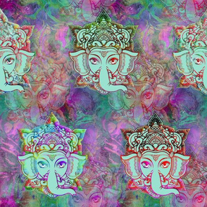 GANESHA GOD ELEPHANT PINK PURPLE GREEN SPRING FLWRHT