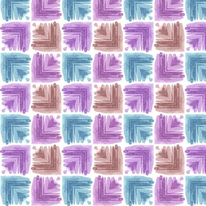 Corners, purple, blue and brown
