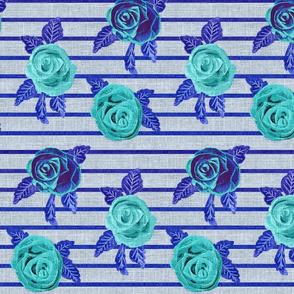 Roses on Heathered grey linen Mod Mix Match