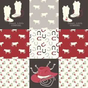 Cowgirl cheater quilt red
