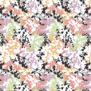 Crosshatch Floral Peach Lilac Mint
