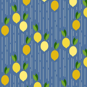Falling lemons on blue
