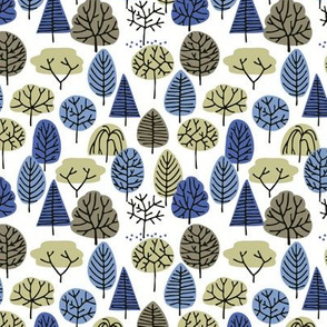 simple blue trees (white)