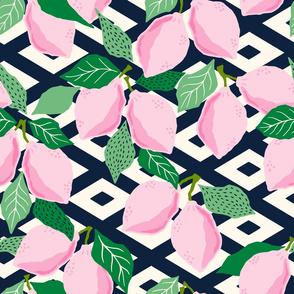 pink papercut lemons/medium