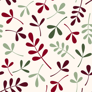 Assorted Leaves Lg Ptn Greens Reds Cream