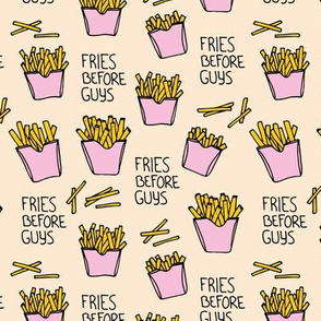 Fries before guys female friendship illustration pop art food design yellow pink girls