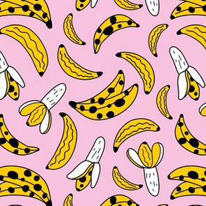 Bright pop art style banana food snack sugar rush pink yellow girls