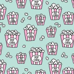 Pastel popcorn snack time pop art illustration food design mint pink