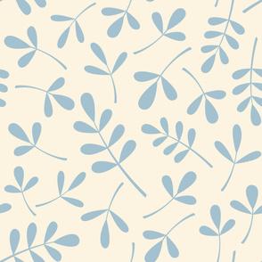 Assorted Leaves Lg Pattern Blue on Cream