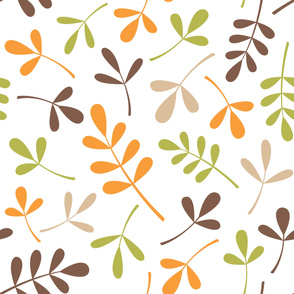 Assorted Leaves Large Pattern Retro Color