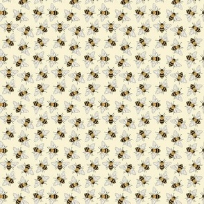 Busy Bees on pale yellow - small scale