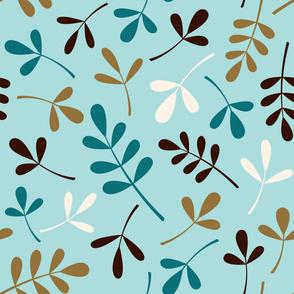 Assorted Leaves Lg Ptn Teals Brown Cream Gold