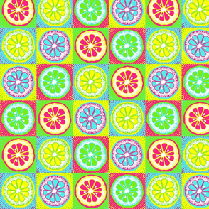 Vector pattern with citrus, orange, lime fruit lice on neon squares. Colourful background with fruit. Pop art wallpaper design with food.