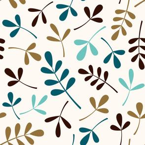 Assorted Leaves Lg Ptn Teals Brown Gold Cream