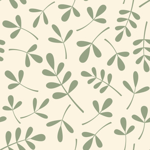 Assorted Leaves Lg Pattern Green on Cream