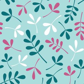 Assorted Leaves Lg Ptn Teals Pink White