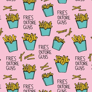 Fries before guys female friendship illustration pop art food design yellow mint pink girls