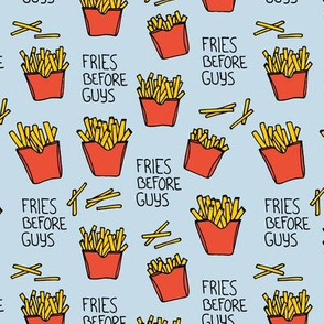 Fries before guys female friendship illustration pop art food design yellow red blue