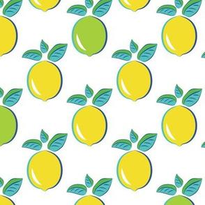 Citrus Pop art pattern lemon and lime white background