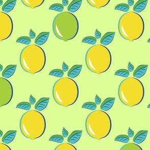 Citrus Pop art pattern lemon and lime green background
