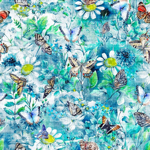 BUTTERFLIES EVERYWHERE textured canvas effect BRIGHT TURQUOISE FLWRHT