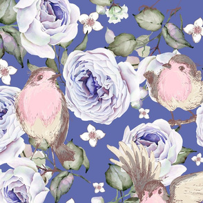 LARGE UPHOLSTERY SPARROWS BIRDS AND ROSES FLOWERS SPRING ON PERIWINKLE BLUE PURPLE FLWRHT
