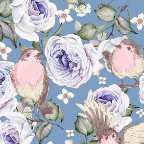 LARGE UPHOLSTERY SPARROWS BIRDS AND ROSES FLOWERS SPRING ON BLUE FLWRHT