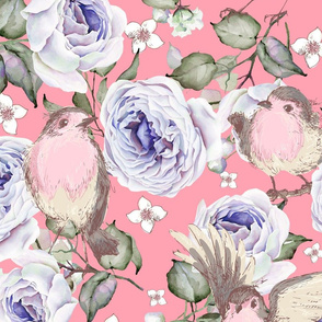 LARGE UPHOLSTERY SPARROWS BIRDS AND ROSES FLOWERS SPRING ON BABY PINK FLWRHT