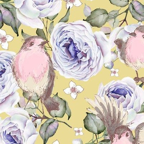 SPARROWS BIRDS AND ROSES FLOWERS SPRING ON YELLOW FLWRHT