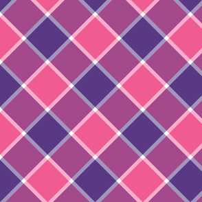"""Jacobite coat check, 6"""" diagonal, purple and pink"""