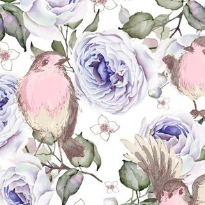 SPARROWS BIRDS AND ROSES FLOWERS SPRING ON WHITE FLWRHT