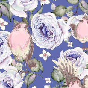 SPARROWS BIRDS AND ROSES FLOWERS SPRING ON PERIWINKLE BLUE PURPLE FLWRHT