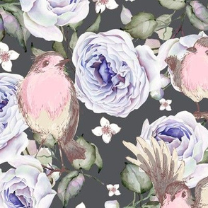 SPARROWS BIRDS AND ROSES FLOWERS SPRING ON GRAY GREY FLWRHT