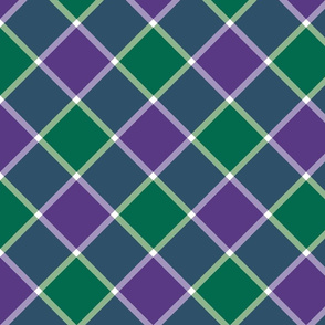 "Jacobite coat check, 6"" diagonal, emerald and purple"