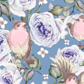 SPARROWS BIRDS AND ROSES FLOWERS SPRING ON BLUE FLWRHT