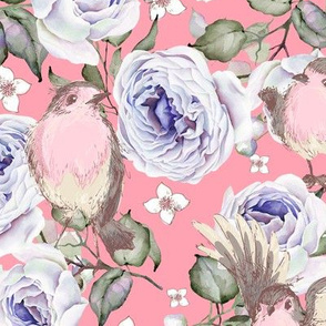 SPARROWS BIRDS AND ROSES FLOWERS SPRING ON BABY PINK FLWRHT