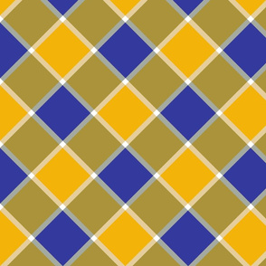 "Jacobite coat check, 6"" diagonal, yellow and royal blue"