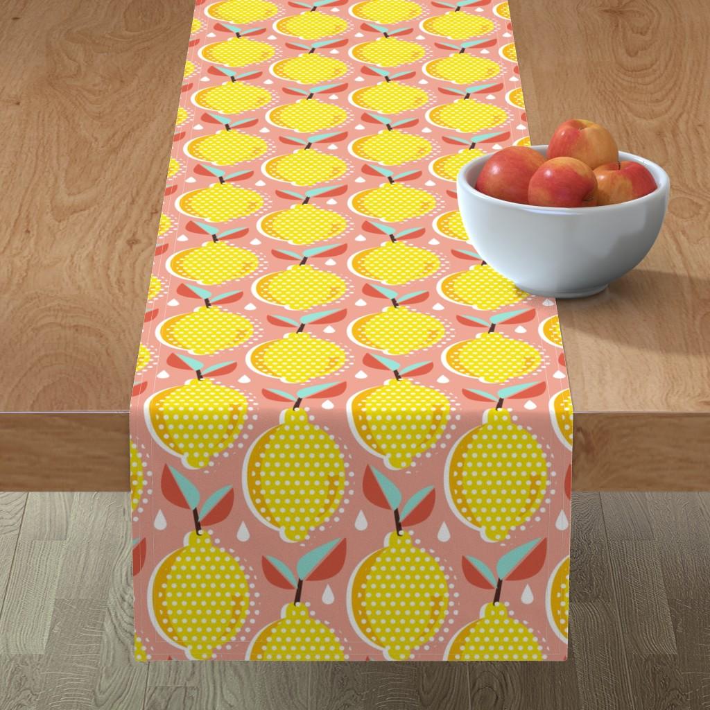Minorca Table Runner featuring Lemon Fresh - Blush Large Scale Pop Art Summer Fruit by heatherdutton