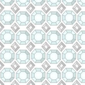 Diamond Silver Gemstone Jeweled Tile