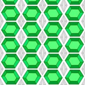 Emerald Silver Gemstone Jeweled Tile
