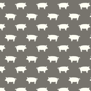 white pigs on taupe