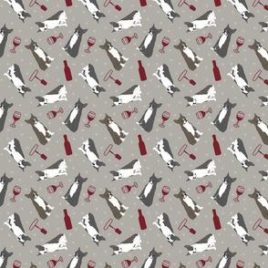 Tiny Boston terriers - wine