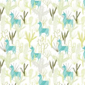 Cactus Llamas ~ Teal