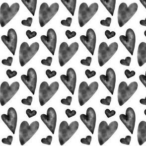 Valentine Watercolor Hearts - Black