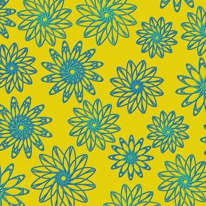 Bright, bold colored, geometrical floral ornament.