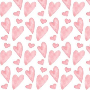 Valentine Watercolor Hearts - Pink