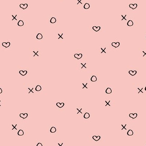 xoxo love sweet hearts and kisses minimal valentine print for lovers wedding and nursery  soft pink girls