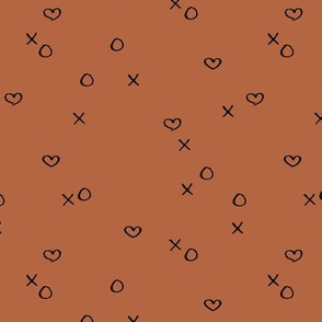 xoxo love sweet hearts and kisses minimal valentine print for lovers wedding and nursery rust copper brown neutral